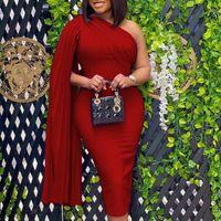 Оранжевые женщины BodyCon платья элегантные вечеринки ужин MIDI платье халат африканский плиссированный шал рукав прямые платья 2020 вестодиоды Y1224