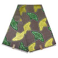 oro cera de tela de la impresión africana de impresión africana de vestir material de la tela dama de cera bricolaje estilo Nigeria 100% algodón 6yards / envío libre