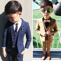 2021 Newkids Boys Costumes Pour Mariages Gilet Blazers Pantalons longs 3pcs Coton Partie de coton bébé Vêtements d'extérieur Vêtements enfants Manteaux Bleu F1225