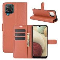 Личи шаблон Flip Magnetic PU кожаный кожаный телефонный чехол для Samsung Galaxy A12 A32 A02S A21 M31 A01 M01 A3 Core M31 A21S