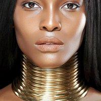 Africano Declaração Vintage Collar Choker Mulheres Colar de ouro colar de couro Jóias Maxi Colar africano ajustável Big # 0304G30