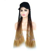 여성 여성 내열 섬유에 대한 긴 머리 26inch 옹 브르 꼰 상자 드리다 가발 합성 가발 모자 야구 모자를 꼰