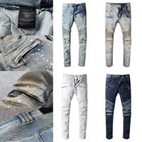 Alta Qualidade Mens Designe Jeans Afligido Motocicleta Motociclista Jeans Rock Skinny Rasgado Furo Faixa Famoso Marca Denim Calças