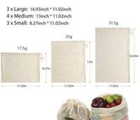 Bolsas de compras líquidas de algodão puro Sacos de frutas vegetais de alimentos portáteis mão totes home armazenamento pacote pacote de cordão novo 4 1FM L2