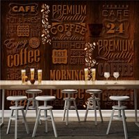 Wallpapers Drop Po Wallpaper 3D Retro Coffee Shop Letters Mural Background Wall TV Painting Stereo Custom