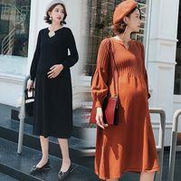 Nuevo vestido de maternidad de moda alta cintura altas primavera otoño falda de invierno ropa de embarazo para un suéter de las mujeres embarazadas de punto 201125