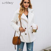 Лосский Женщины с длинным рукавом Осень Зима Толстая теплая куртка пальто плюс размер Сыпучие Lady Плюшевые фланель вскользь женщина одежды 201021