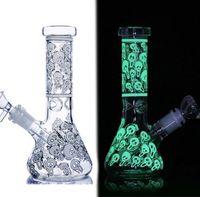 7.8 inchs Skull glass Water Bongs Smoke Pipe Beaker Bong Downstem Perc Dabber Glass Bubbler unique Hookahs Bong Dab Rigs With 14mm