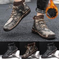 Retro Combat Boots Men Casual Winter Shoes Camouflage Printed Male Lace-up Breathable Socks Locomotive Tooling Shoe botas hombre