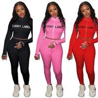 여성 디자이너 Tracksuit 자수 운이 좋은 Lable 문자 지퍼 코트 자켓 탑스 legging 바지 복장 두 조각 의류 세트 G12202