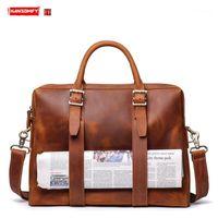 حمل حقيبة الرجال حقيبة سعة كبيرة أكياس الكمبيوتر الذكور حقيبة السفر الجلود الكتف قطري حقيبة الرجال مجنون الحصان الجلود 1