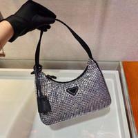 Moderna bolsa de nylon con el embellecimiento de cristal todo por todo Destaca las mujeres Mini bolsos Hobos Bolsa de hombro Bolsas de la cámara Montones de camuflaje de moda