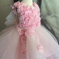 Lovely Pink Lace Beading Girls Pageant Dresses Cold Shoulder Two Layers Skirt Ball Gown Princess Flower Girl Dress For Kids