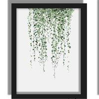 Planta verde digital de la pintura moderna, decorada con cuadro enmarcado arte de la pintura pintado manera de sofá del hotel decoración de la pared Draw manera mar AAF2761