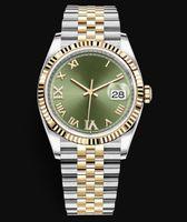 Хорошее качество Смотреть новая модель с датой 36 мм двух тон 18k желтый золотой ремешок из нержавеющей стали 2813 автоматическое движение часы часы мужские