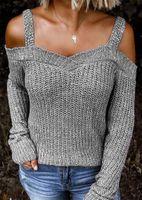Женские свитера с плечо с твердой женщиной зимняя одежда женская косой шеи свободные повседневные топ пуловеры свитер вязание падение 2021 женщина