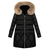 Longo Mulheres jaquetas de Inverno e Coats Plus Size Womens Parka Exteriores da pele do falso com capuz Zipper bolsos da jaqueta Mulheres Coats Inverno
