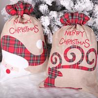 Рождественские Ожиол Fawn Santa Drawstring Подарочная сумка Dropshipping Candy Claus Tote Лента F9001 Украшение Burlap LFHCC