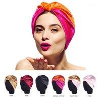 6 색 보우 더블 실크 탄성 입욕 수면 새틴 살롱 Bonnet 여성용 자연 곱슬 머리 여성용 헤드 랩 캡 1