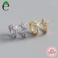 Hoop Huggie Elfoplatasi Minimalist 925 Sterling Silber Mode Dazzling Stern CZ Ohrring Für Frauen Hochzeit S925 Schmuck DA11291