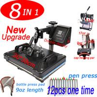 شحن مجاني جديد 8 في 1 كومبو التسامي الحرارة الصحافة آلة لتخصيص تي شيرت / سلسلة المفاتيح