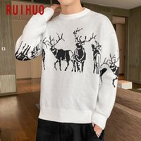 RUIHUO Knitted Christmas Sweater Men Winter Mens Clothes Pullover Mens Sweaters Black Sweater 2020 New Arrivals M-3XL