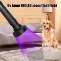 Torce Torce Torce Nero Lampada UV in lega di alluminio 100LED Zoom Detection Battery1