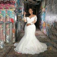 Feito feito sob encomenda mangas compridas vestidos de casamento de sereia 2021 Plus size com apliques colher de pescoço varredura trem africano edifding vestidos de noiva
