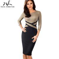 Bonito-Forever Vintage Elegante Color de contraste de color Ropa para trabajar Vestidos Oficina de Business Party Mujeres Bodycon Vestido B463