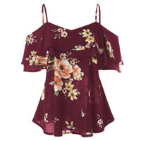 Women Summer Floral Print Shirts Fashion Ruffle Tops Sexy St...