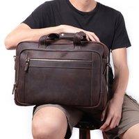 """Jiamen erkekler evrak çantası hakiki deri laptop çantası 15.6 """"PC avukat bilgisayar çantası inek derisi erkek evrak çantası inek deri men1"""