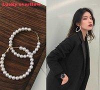 Aro huggie luckyroverflow de moda 4 cm-6 cm Pendientes de perlas mujeres exageradas grandes círculo grande oído anillos de moda joyería