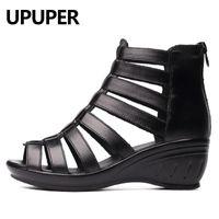 Upper Echtes Leder Gladiator Sandalen Frauen Atmungsaktive Sommerschuhe Frau Schwarz Keile Damen Schuhe mit Reißverschluss Damenschuhe Y200702