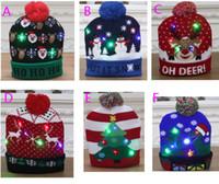 새로운 주도 크리스마스 니트 모자 크리스마스 라이트 업 비니 모자 야외 빛 자란 볼 스키 모자 산타 눈사람 순록 크리스마스 트리 HH9-2463