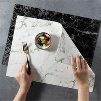 Tischmatte Leder Esstisch Place Matten Hitzebeständige Anti-Skid-Küchentisch-Matten Marmorierter Leder-Tischset Heißer Verkauf