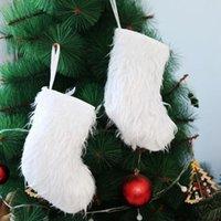 Blanc Longue Peluche Stocking Enfants Cadeaux Sacs Arbre de Noël Pendentifs suspendus Retro Santa Jolle Chaussettes de Noël Ornements DDA745