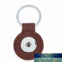 8 colores Moda 3.5 cm botón de presión redondo llavero de cuero PU Cadena de llavero de cuero Fit DIY 18mm Botones a presión Joyas de regalo de llavero