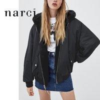 Narci Damies обратимый с капюшоном куртка с капюшоном из искусственного мехового флиса для зимних женских топов бомбардировщики куртки пальто черные туре с длинным рукавом 201031