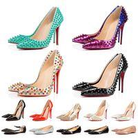 Con Box Womens Designer di lusso scarpe tacchi fondo rosso tacchi alti donne festa di nozze spikes scarpe a punta mocassini fondo rosso scarpe eleganti