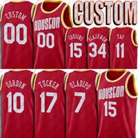 Christian 35 Wood Jersey Victor 7 Oladipo Eric Jerseys Gordon Custom Houstons Basketball Jersey Yao Hakeem Ming Olajuwon DeMarcus Cousins xs