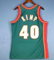 Cheap Retro Custom # 40 Shawn Kemp Femininos Mitchell Ness College Basketball Jersey Tudo costurado Verde Tanto Tamanho 2XS-5XL nome ou número