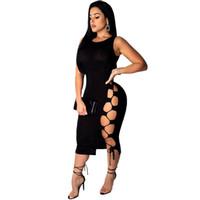 Donne Simboli Spazio senza maniche Black Bandage Dress Sexy O-Collo Hollow Out Knee-lunghezza BodyCon Bodycon Abito Dress da celebrity Abiti da festa Vestidos