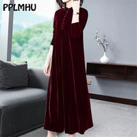 Plus Größe 5XL 6XL Samt Kleid Frauen 2020 Neue Casual Casual Mom's Loose Maxi Robe Rot Lange Ärmel Solide Farbe Winter Party Vestidos