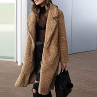 Moda casual cálido bolsillo de solapa manga larga capa larga de manga para mujer blusa de jersey de la chaqueta delantera abierta abrigo Outerwear1