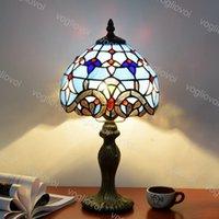 Lámpara de mesa Dia 20 cm Retro europeo de vidrio de aluminio Aleación de aluminio Barroco 110V 220V E27 para sala de estar Salón Barra de dormitorio DHL