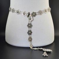 Czeski Vintage Srebrny Tassel Kwiat Bells Łańcuch Body Dla Kobiet Plaża Indyjski Taniec Etniczny Talii Łańcuch Biżuteria