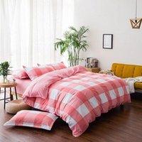 Set di biancheria da letto J Plaid Pink 4pcs Girl Boy Kid Bed Cover Set Duty Duty Adult Bambino fogli e federas con rifornimento 2TJ-61016