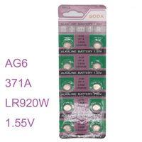 Watch Batteries Wholesale - 10 قطعة / المجموعة Batterie AG6 SR920SW SR69 SG6 371 زر خلية القلوية الرجال السيدات childre الساعات 1