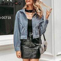 BerryGo Long sleeve autumn winter female coat Fashion streetwear short corduroy jacket women Casual buttons ladies basic jackets