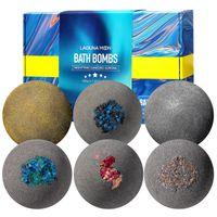 Lagunamoon 6 pcs bombas de banho conjunto de presente colorido orgânico orgânico perfumado nighttime dançando aurora séries bolha banho solt bola bombas